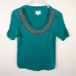 Deletta Teal Jewelscape Embellished Top